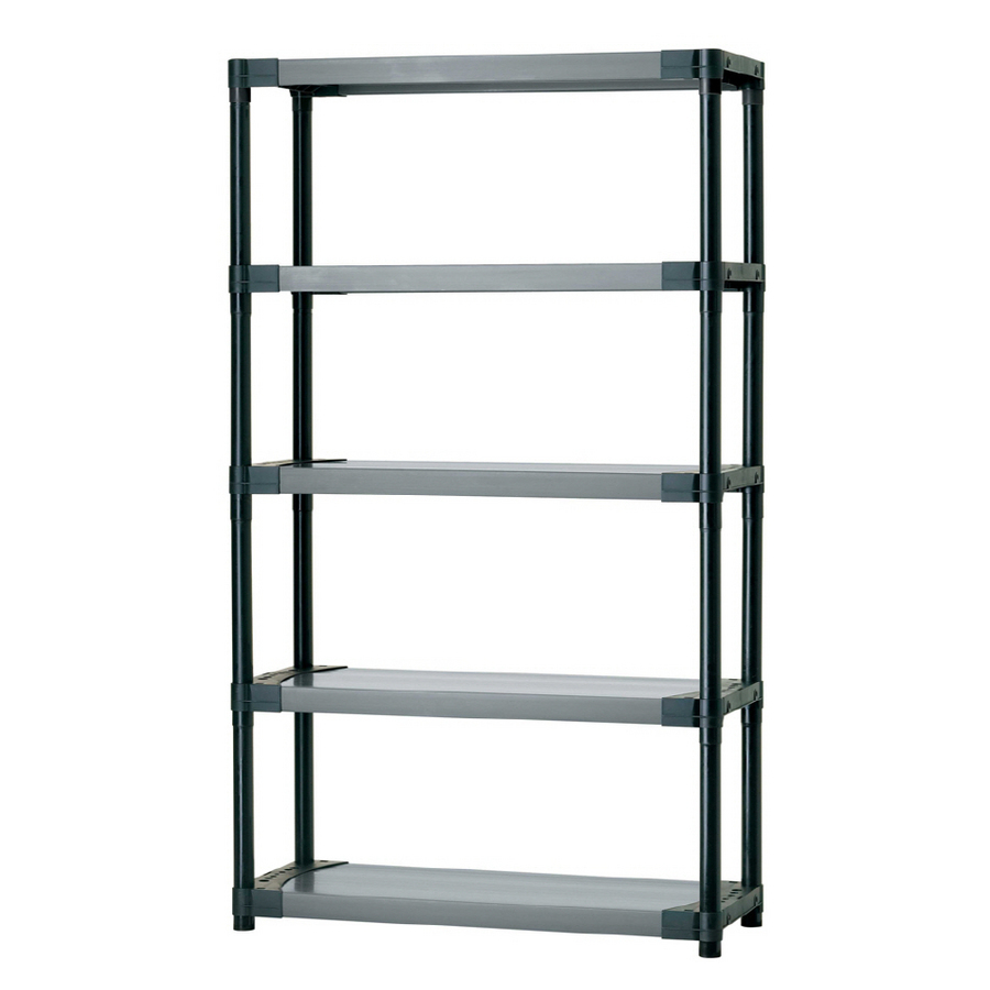 Blue Hawk 70 In H X 42 In W X 16 In D 5 Tier Plastic Freestanding Shelving Unit At Lowes Com Plastic Shelving Units Freestanding Shelving Units Shelves