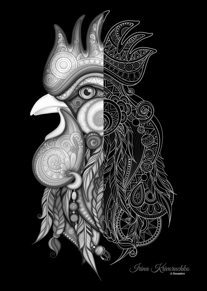 Rooster 2017 with Doodle Style Ornaments on Behance
