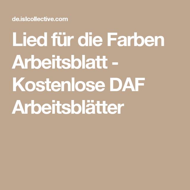 Lied für die Farben Arbeitsblatt - Kostenlose DAF Arbeitsblätter ...