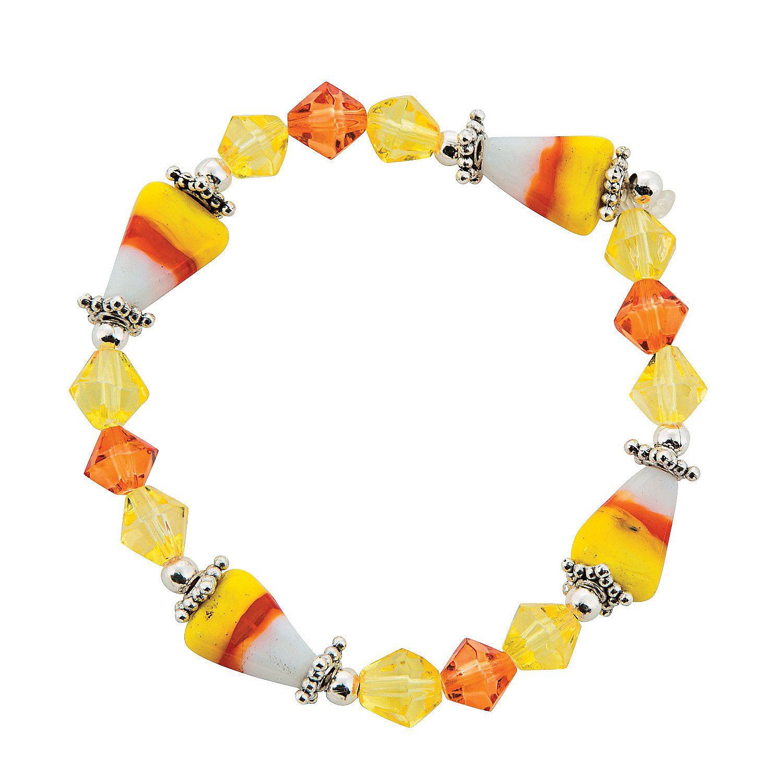 Jeweled Candy Corn Bracelet Craft Kit - OrientalTrading.com