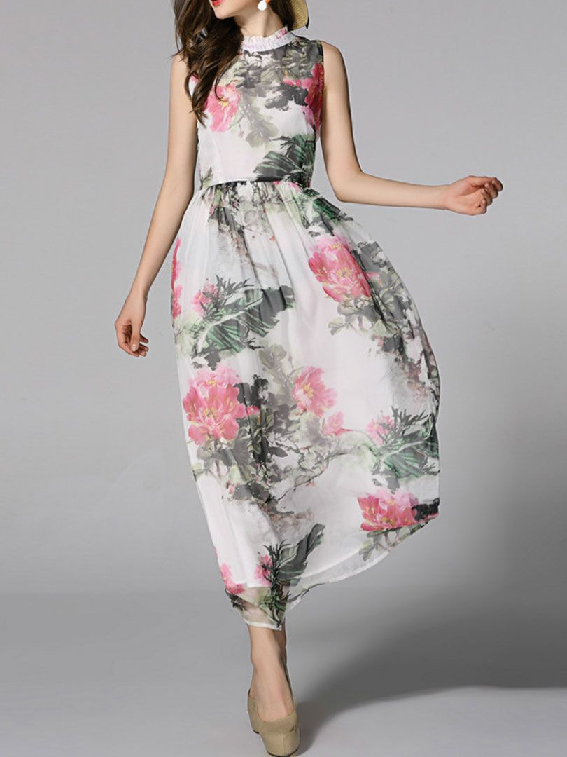 Floral Ink Painting Print Maxi Dress with Lace Neck | Choies