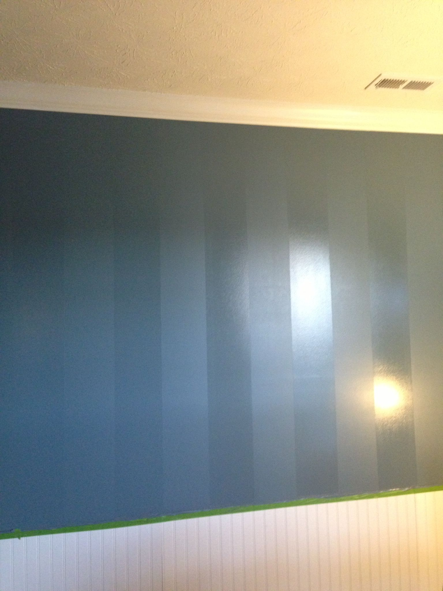 I M Very Proud Of The Job We Did Painting The Feature Wall We Used An Eggshell And Semi Gloss Fi Painting Stripes On Walls Wall Paneling Master Bedrooms Decor
