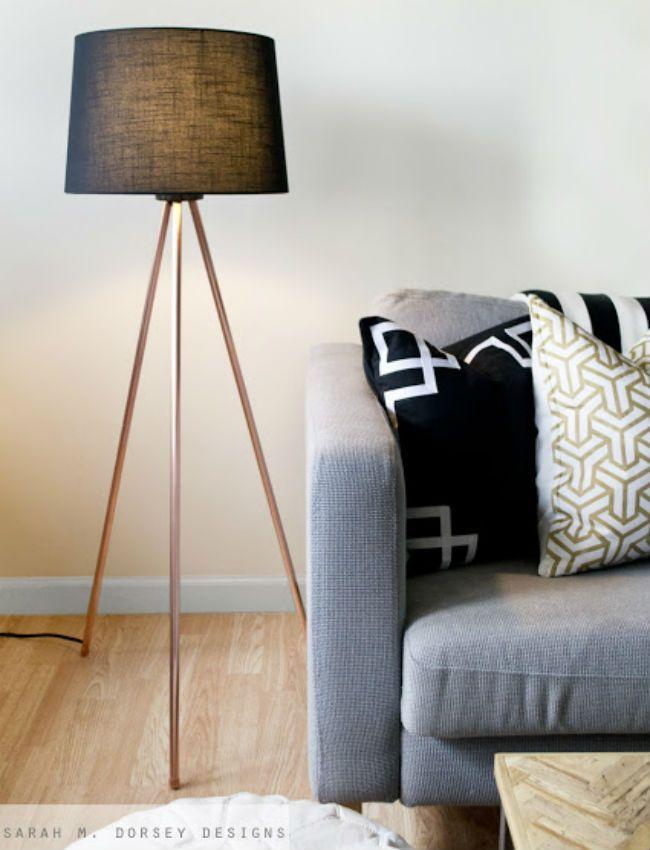 Diy Copper Floor Lamp Diy Floor Lamp Floor Lamp Bedroom Tripod Floor Lamps