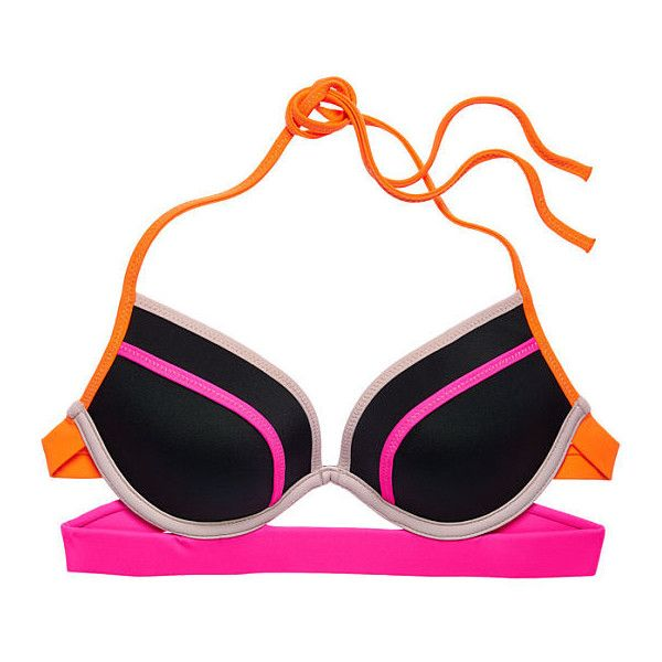 Victoria's Secret The Banded Hottie Halter ($35) ❤ liked on Polyvore featuring swimwear, swimwear // cover ups, padded swimwear, padded underwire bra, victoria secret swimwear, halter top and plunge halter top