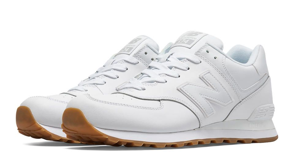 NEW BALANCE // 574 Leather, White | Tennis shoe outfits ...
