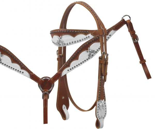 Western Tooled Leather Tack Set Horse Bridle Headstall w// Reins Breast Collar