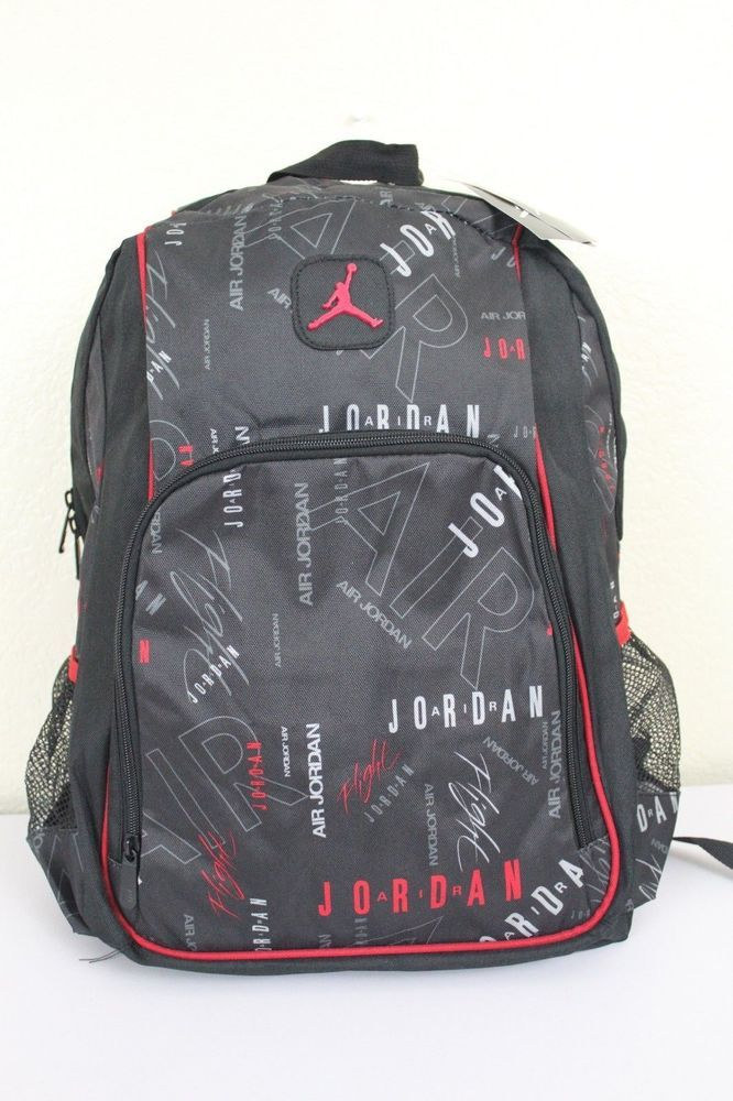 NWT NIKE AIR JORDAN Jumpman Black/Red Laptop Mesh Bottle Pockets Backpack  Bag #Nike