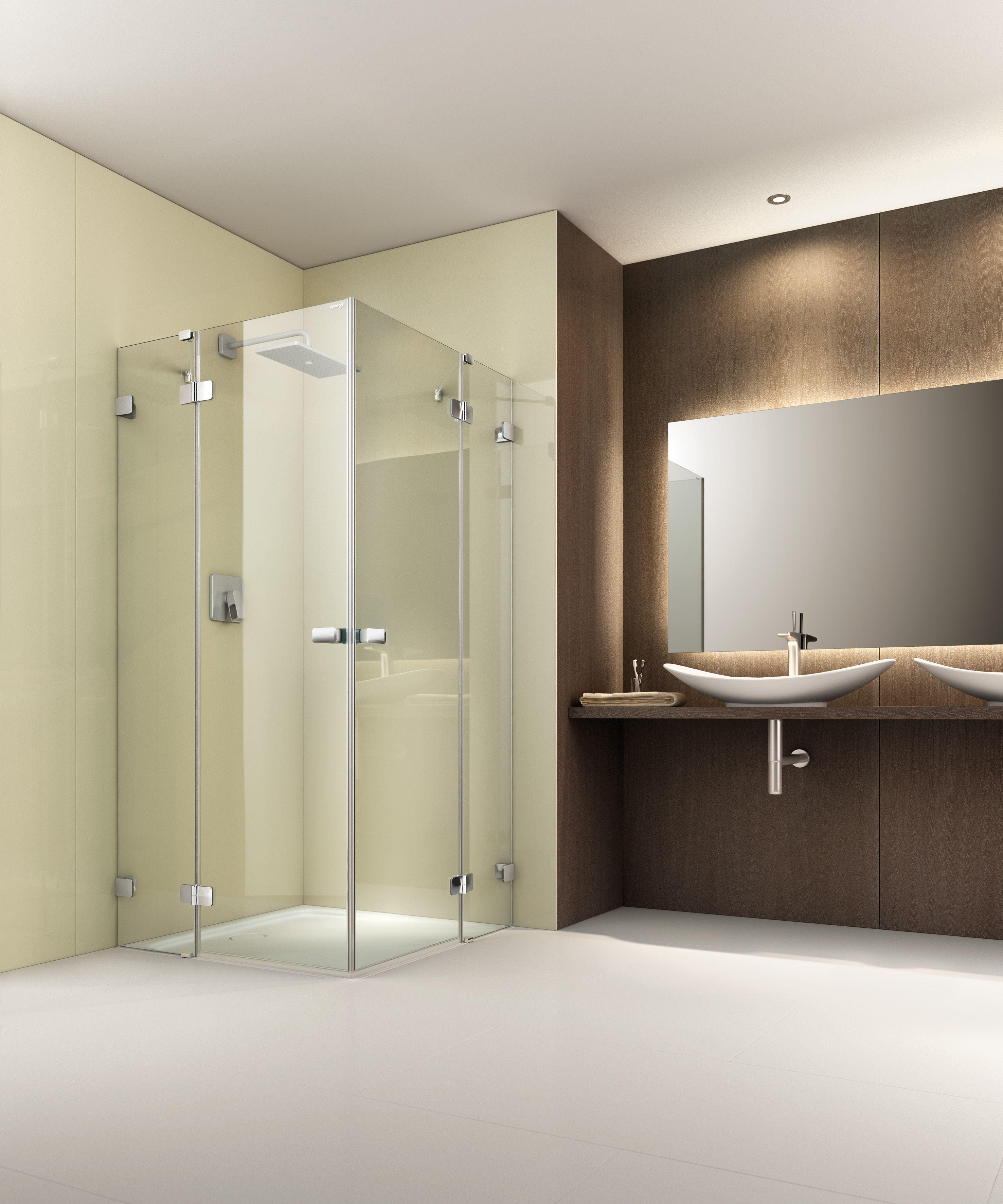 Symmetrische Und Barrierefreie Duschlosung Mit Der Artweger 360 Eckeinstieg Duschabtrennung Besonders Schick Die Rahmen Duschabtrennung Dusche Duschbadewanne