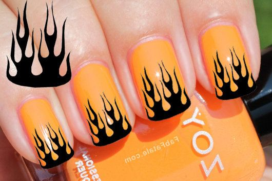 29 Black Flame Tip Nail Art Decals Harley By Northofsalem On Etsy