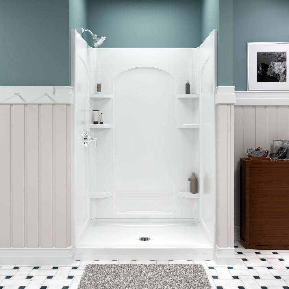 STERLING Ensemble 35.25 in. x 48 in. x 77 in. Curve Shower Kit in ...