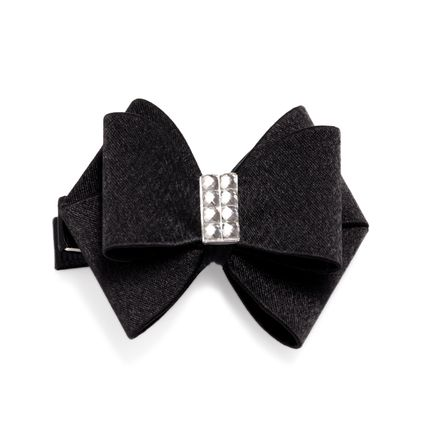 "Treat your tresses to this decorative hair bow. Featuring an intricate black bow adorned with CZ, this accessory serves both fashion and function needs.   - Satin, CZs  - Approx. 2"" x 2 1/4""  - Alligator clip"