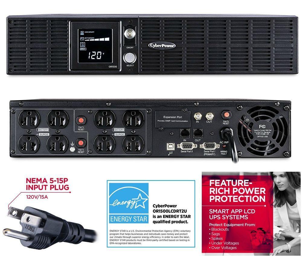 Cyberpower Or1500lcdrt2u Smart App Lcd Ups System 1500va 900w 8 Circuit Breaker Labels Ebay Outlets Avr Link