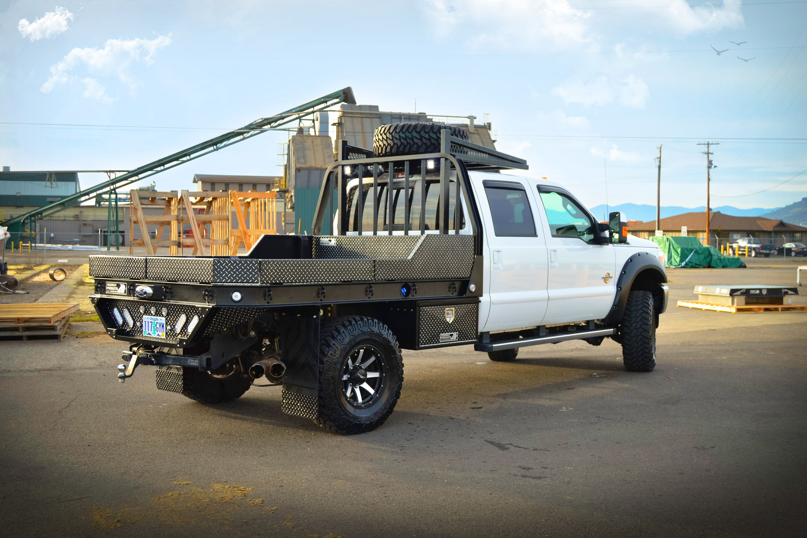 2015 Ford F350 Aluminum Flatbed In Leopard Style Hpi Black W Shaved Diamonds With Matching Underbody Boxes Mud Flap Trucks Truck Flatbeds Custom Truck Beds