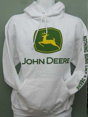 NEW John Deere Gray Hoodie Sweatshirt Sizes S M L XL 2X 3X