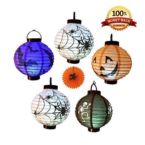 Halloween Decorations Paper Lanterns w/ LED Light Skeleton Bats Jack