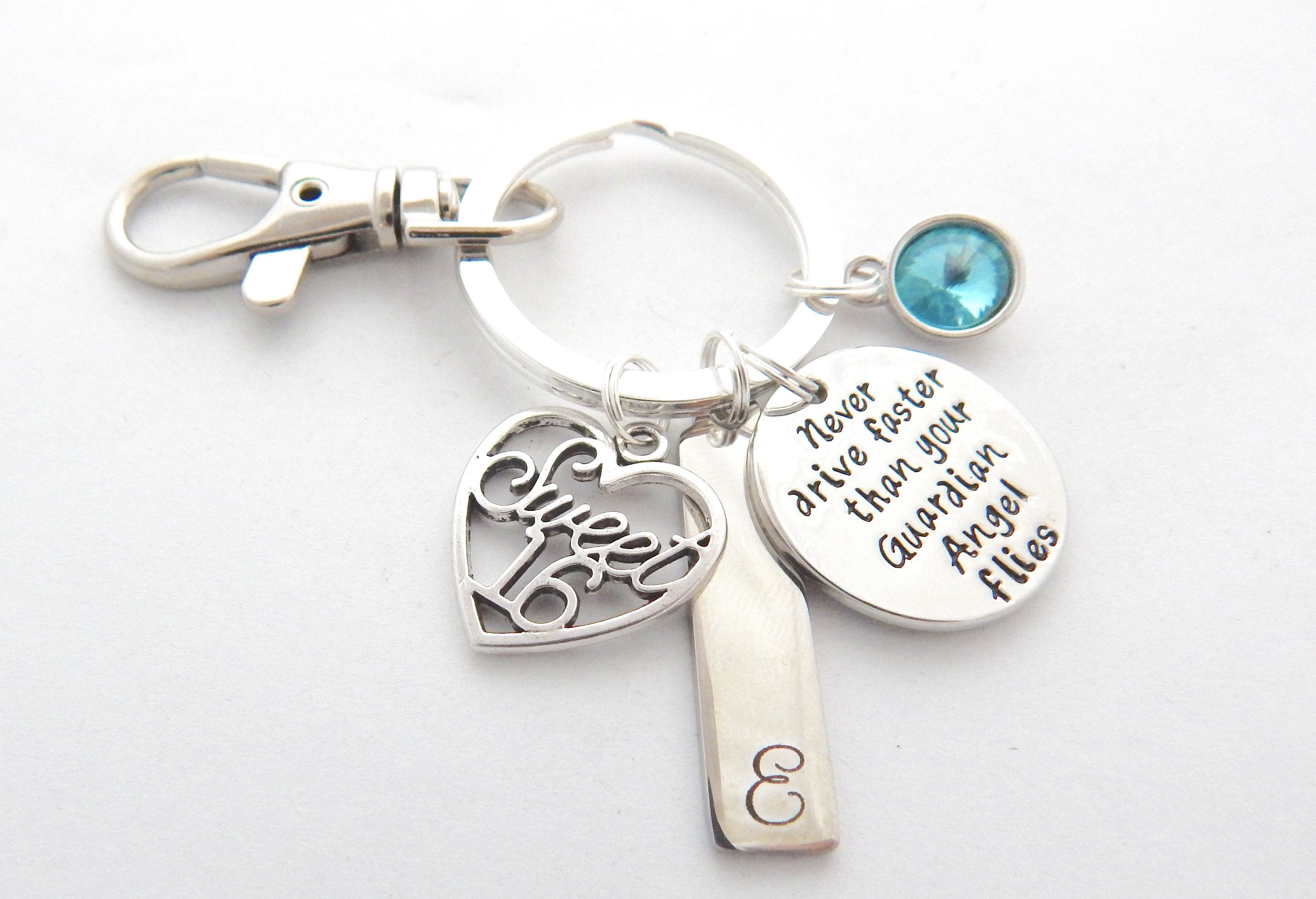 Sweet 16 Keychain 6th Day Gift Guardian Angel Keychain