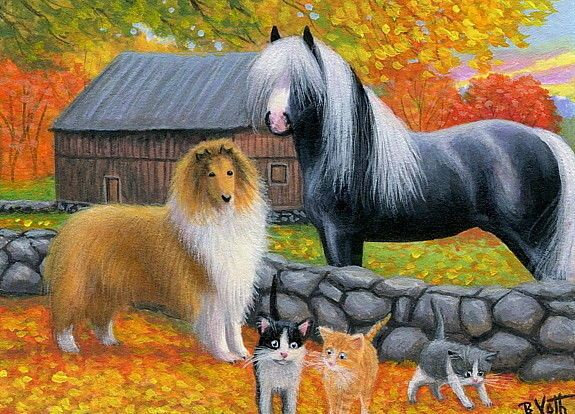 Kittens cats collie dog horse farm autumn fall original aceo painting art #Realism