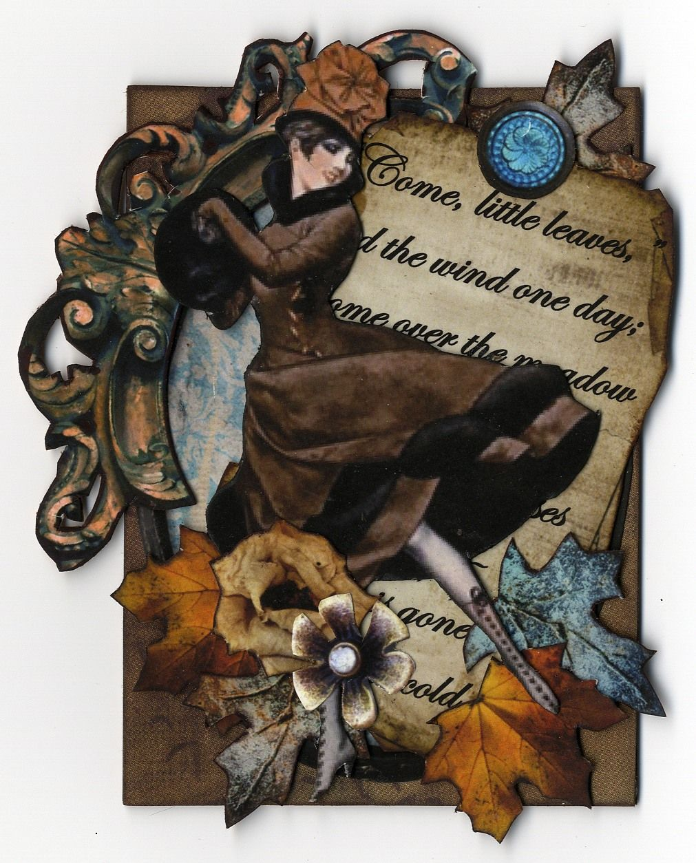 Come little leaves collage art mixed media artist