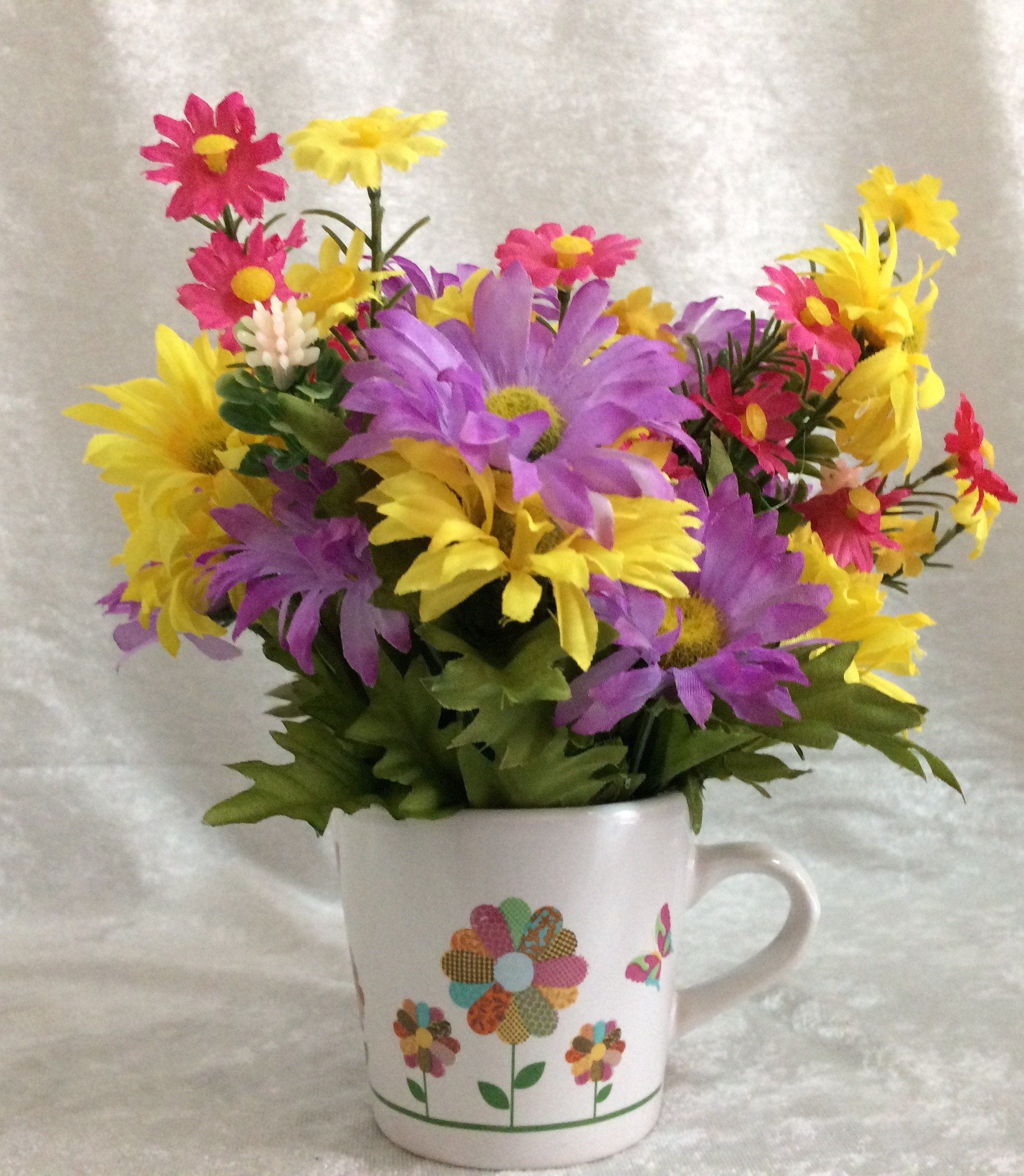 Mug of daisies flower arrangement small silk centerpiece mug of daisies flower arrangement small silk centerpiece artificial flowers small silk flower arrangement small arrangement table decor by mightylinksfo