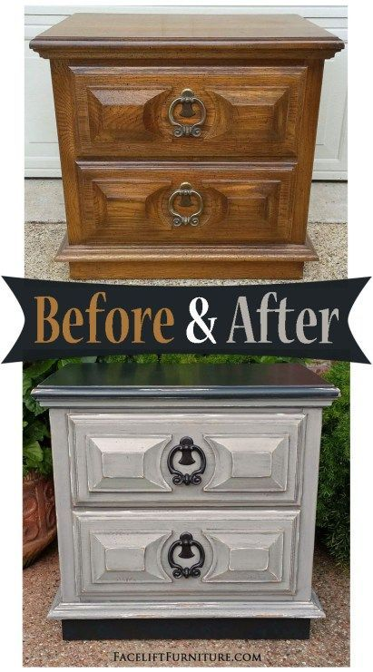 Nightstand Given A New Life In Black U0026 Apsen Gray   Before U0026 After From  Facelift Furniture | Repurposed Furniture | Pinterest | Nightstands,  Repurposed And ...