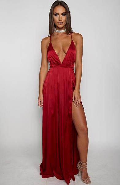 Lita Maxi Dress - Maroon | Maxi dresses, Neckline and Models