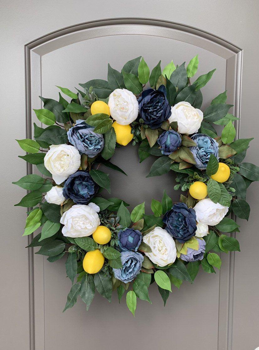 Photo of Summer Wreaths for Front Door Blue, Preppy Wreath, Lemon Wreath, Summer Wreath, Summer Wreath Blue, Blue and White Decor, Wreath for Wedding