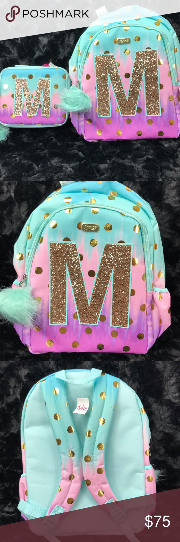 Justice Backpack Ombre Gold Foil Set Initial M New Justice Backpacks Justice Accessories Bag Accessories