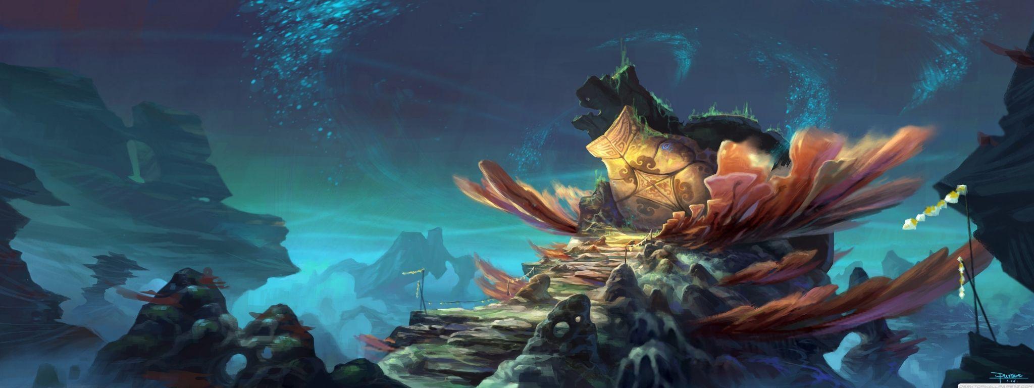Fantasy Landscape Artwork Dual Screen Wallpaper 2048×768