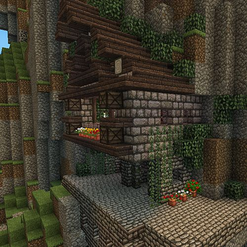 My Minecraft House That Is On A Cliff    Built Into The Mountain