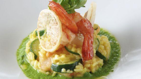 Rezept: Risotto mit Schwertfisch und Shrimps