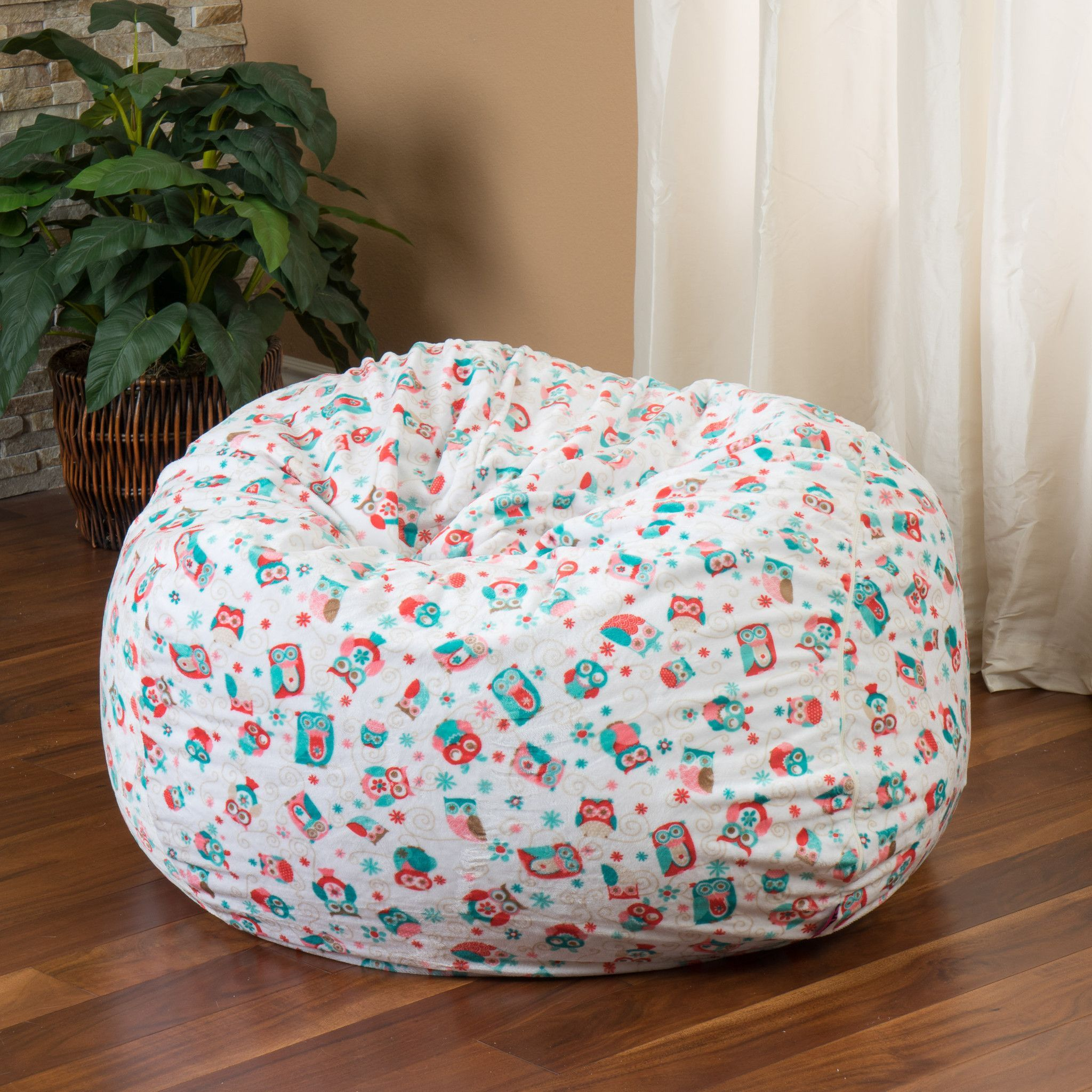 Ashley 3Ft Owl Multi Color Fabric Bean Bag Chair