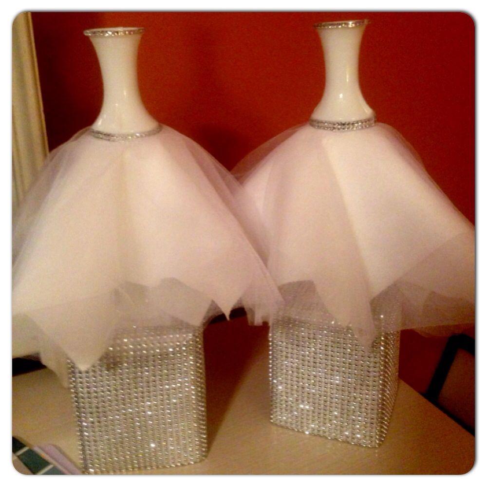 craft ideas homemade bridal shower decoration%0A DIY vase wedding dress centerpieces