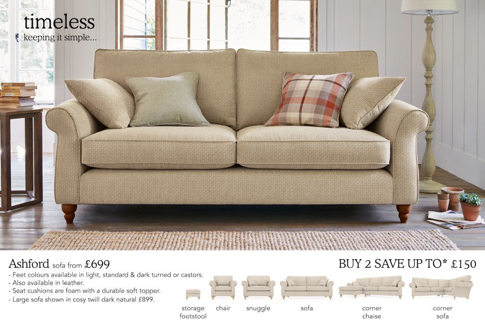 Buy Ashford Medium Sofa Seats Tweedy Check Lawson Dove Low - Ashford sofa