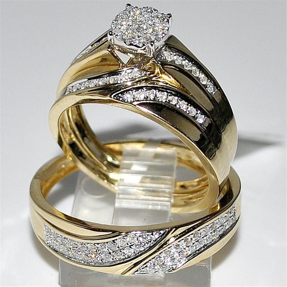 14K Yellow Gold Finish His Her Bridal Band Engagement