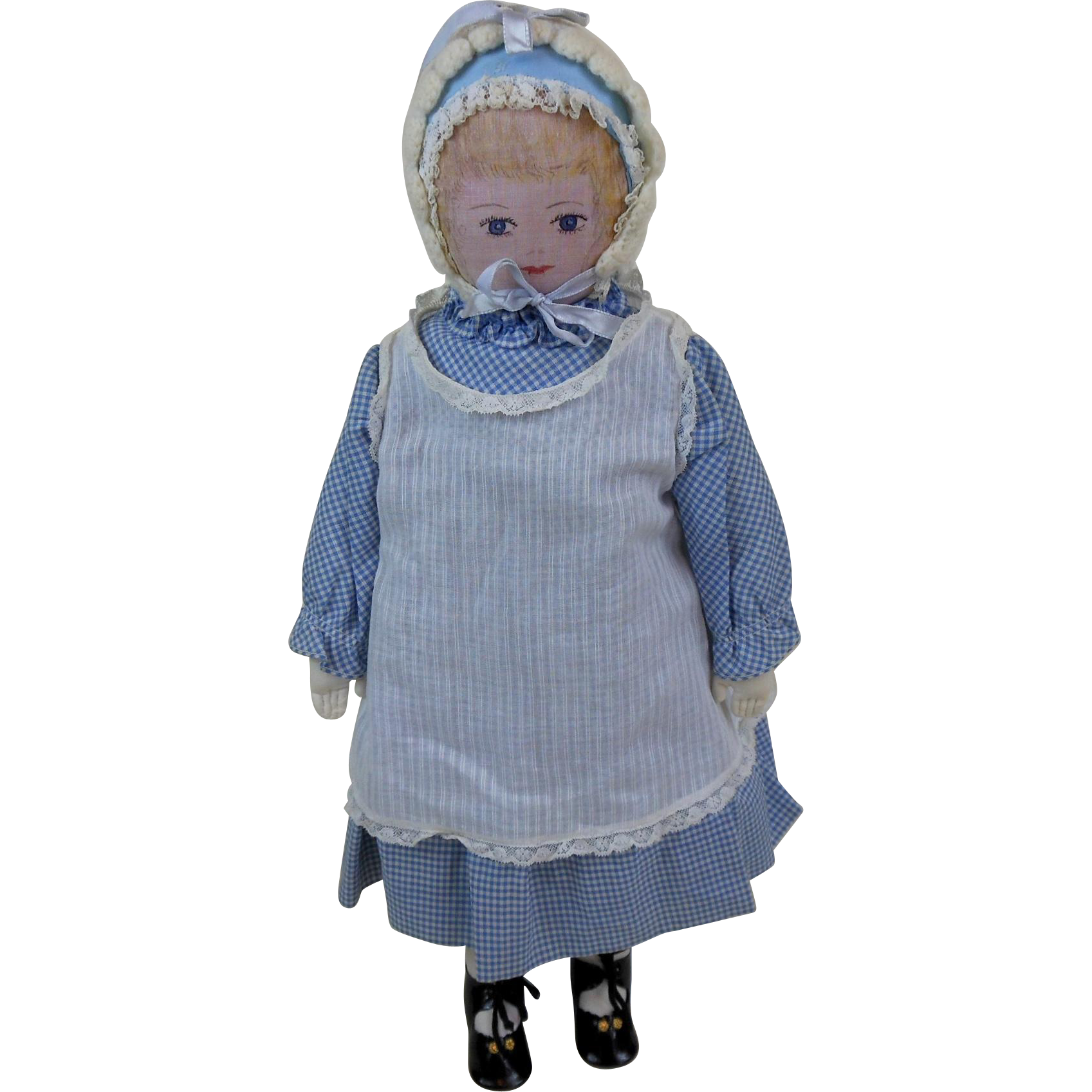 1970's Moravian Polly Heckewelder Doll in Blue Checked Dress & Bonnet from…