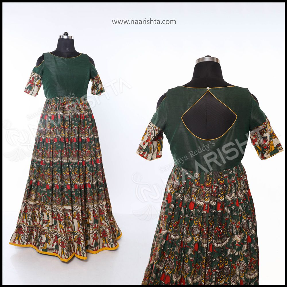 Kalamkari Green Silk Dresses Best Fashion Designers Fashion