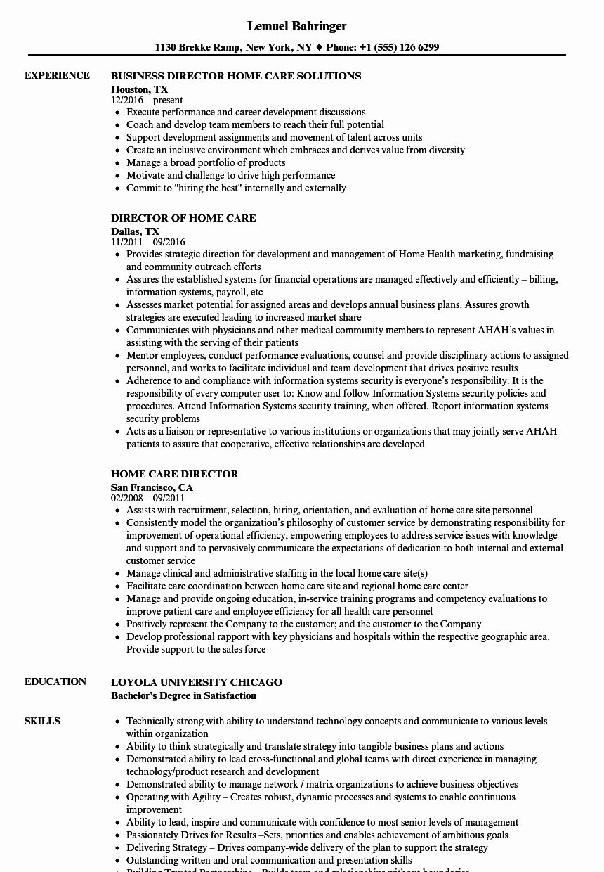 Vision Statement for Home Care Agency in 2020 Resume