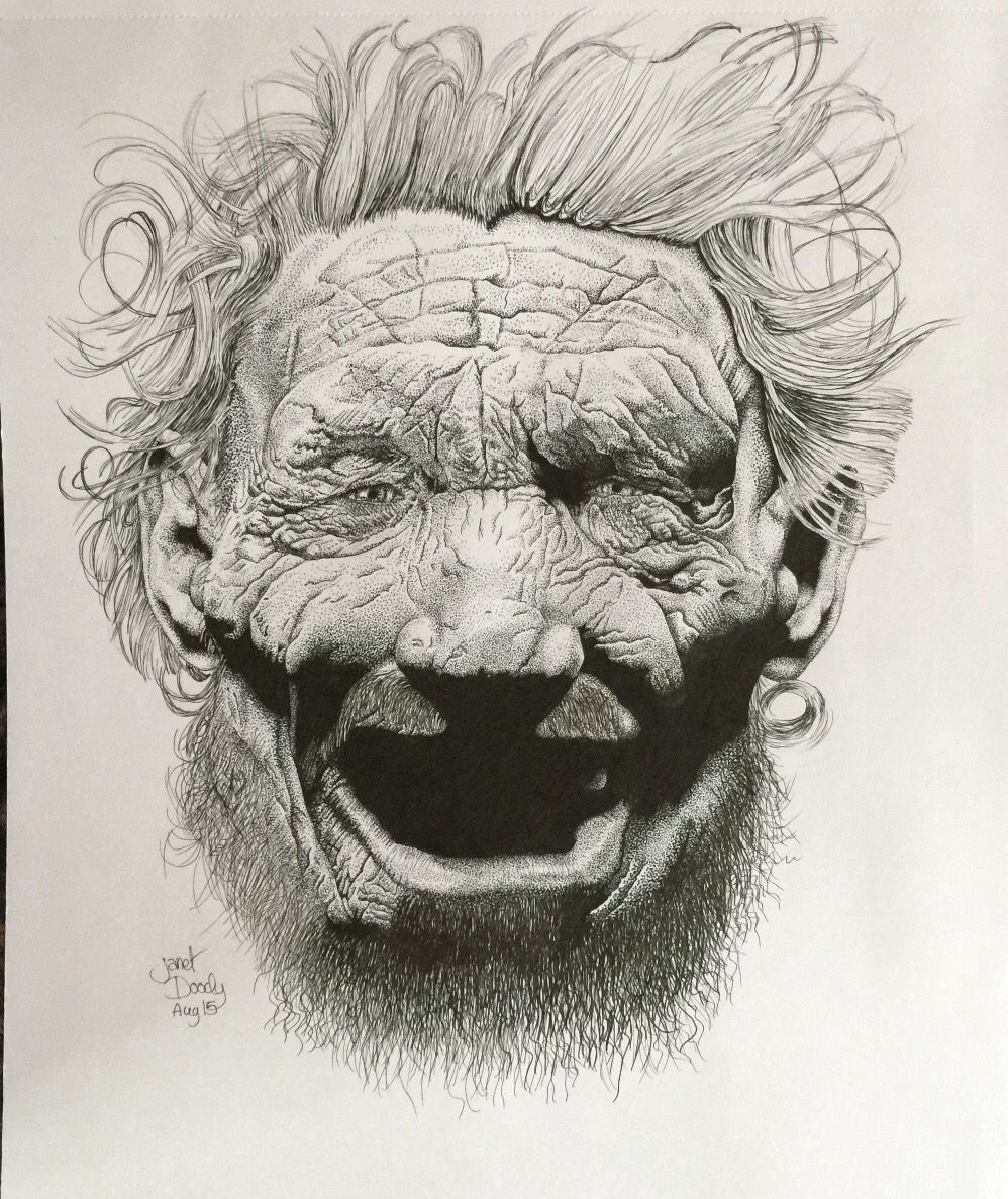 Pen and ink Neanderthal Man