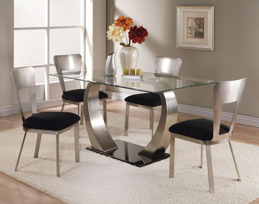 Most Beautiful Dining Tables acme camille glass top dining table with metal base 10090 | for