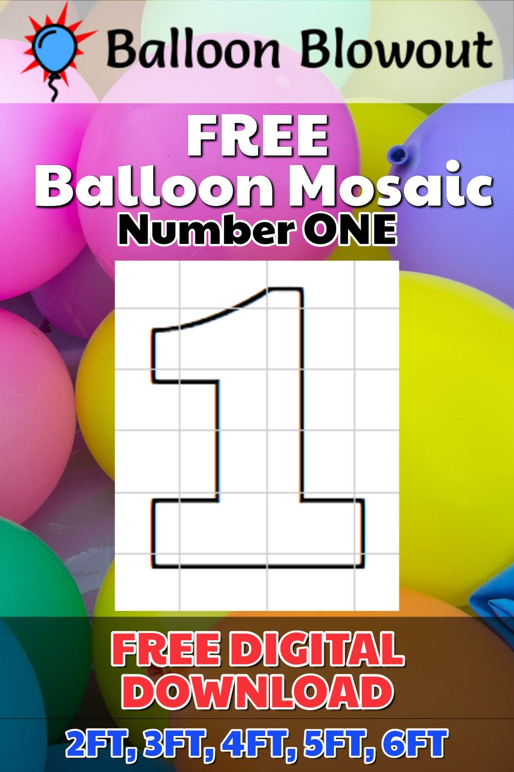 Balloon Mosaic Template 3ft and 4ft- Number 1 Mosaic Pattern Mosaic template No Mosaic Number 1 1