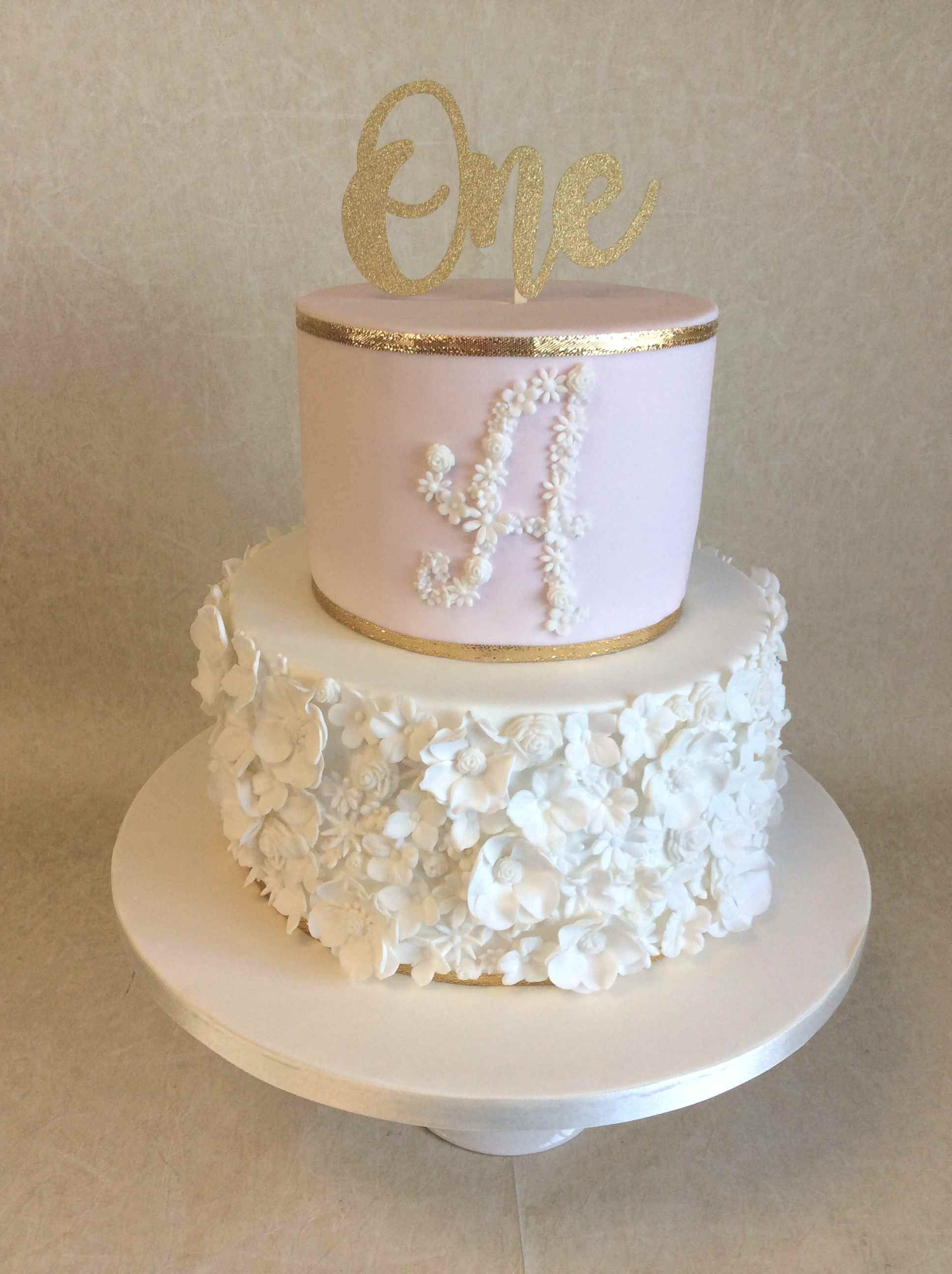 2 Tier Pale Pink And Gold Floral Design 1st Birthday Cake Baby First Birthday Cake Floral Cake First Birthday Cakes