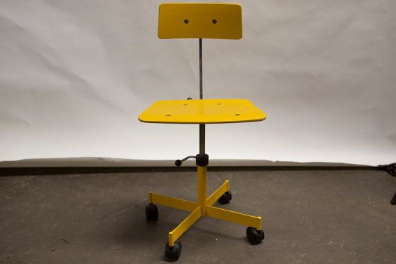 Vintage KEVI Rabami Stole Yellow Desk Chair Jorgen ...