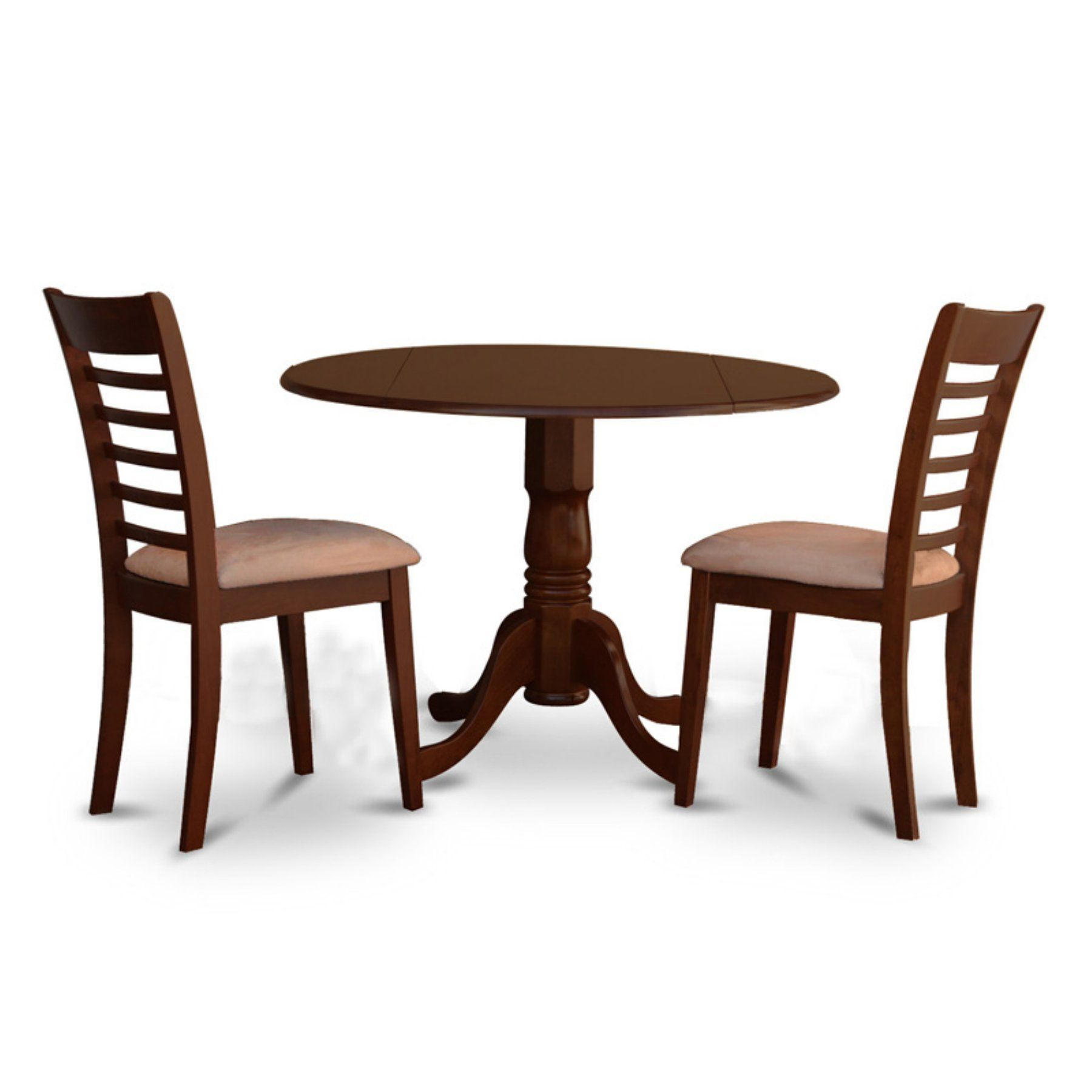 East West Furniture 3 Piece Straight Ladderback Drop Leaf Dinette Enchanting Three Piece Dining Room Set Design Decoration