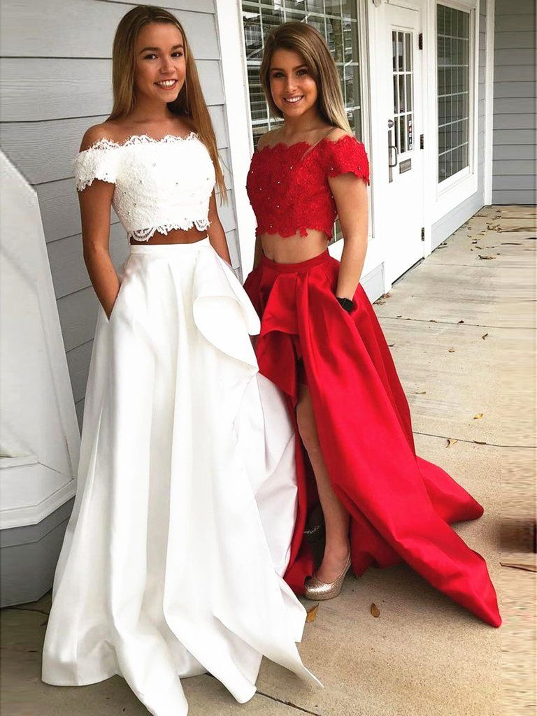 992568d646 A Line 2 Pieces Off Shoulder White Red Lace Prom Dress