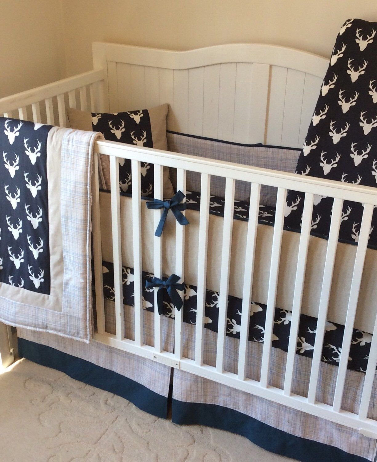 navy and tan stag crib bedding set made