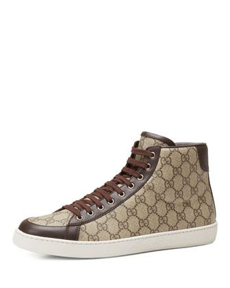 c922214d8 Brooklyn GG Supreme Fabric High-Top Sneaker Beige | Men's Shoes ...