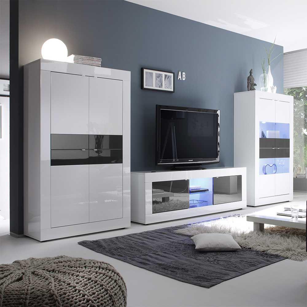 TV Anbauwand In Weiß Anthrazit Hochglanz Modern (3 Teilig) | Wohnzimmer U003e TV