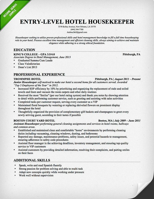 EntryLevel Hotel Housekeeping Resume Template  Free Downloadable