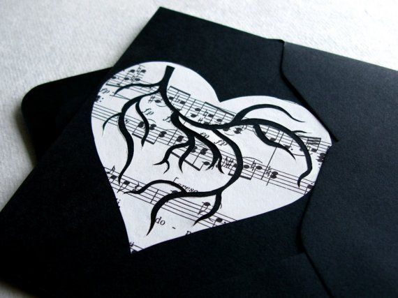 The Piano. One of a Kind Card. Original Hand Cut Paper Art by PaperCutWorks # sheet music #composer #valentine #unique