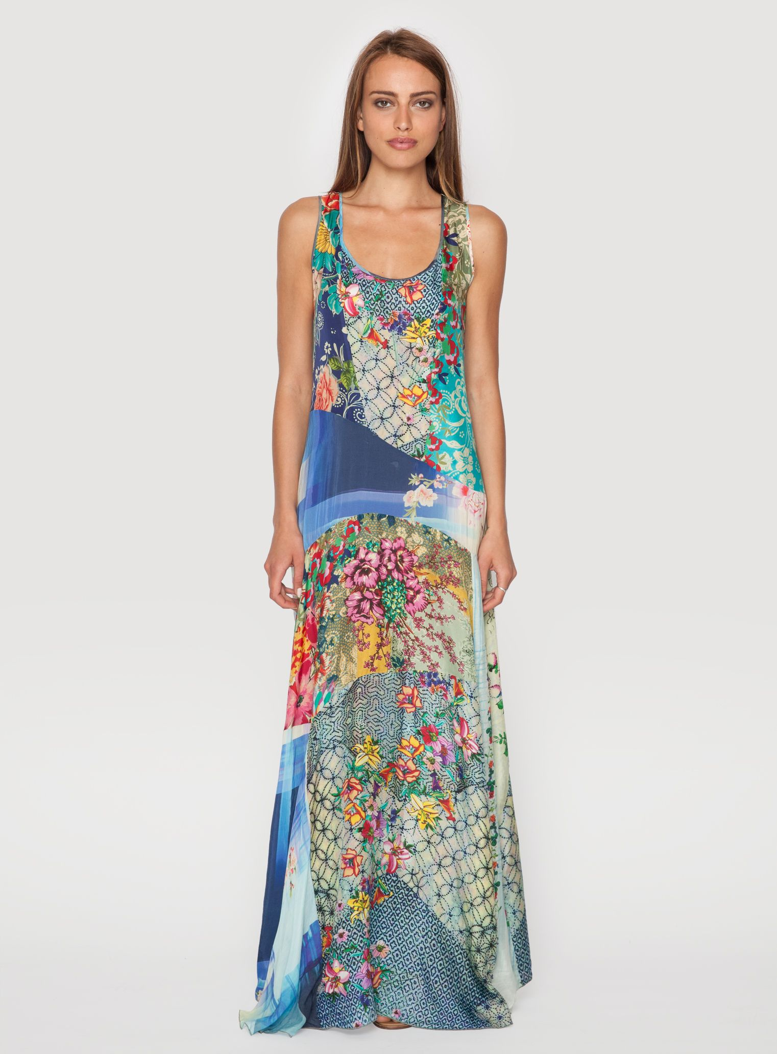 4f70141a3913 The only patchwork thing I ve ever liked. (Johnny Was Clothing printed silk  Patchwork Maxi Dress)